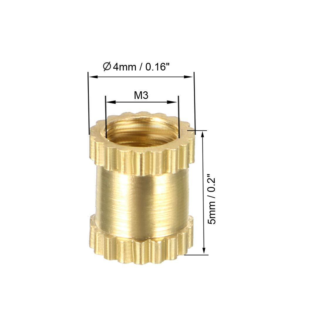 uxcell Knurled Threaded Insert OD Female Thread Brass Embedment Nuts L x 5mm M4 x 5mm Pack of 50