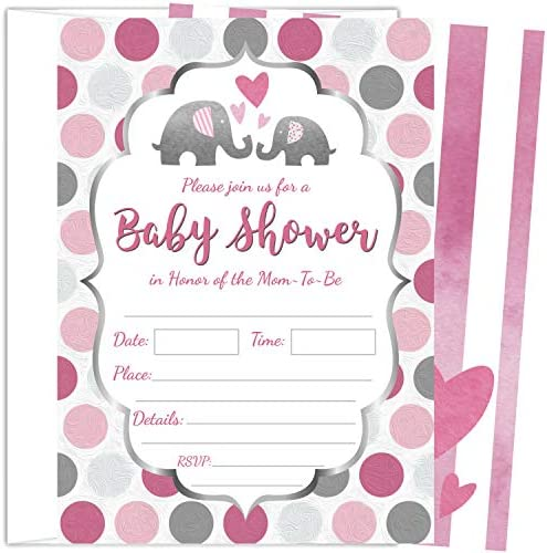 25 Pink Elephant Girl Baby Shower Invitations 5×7 Inch with Envelopes