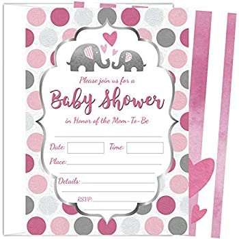 Amazon Com 50 Fill In Elephant Baby Shower Invitations Baby Shower