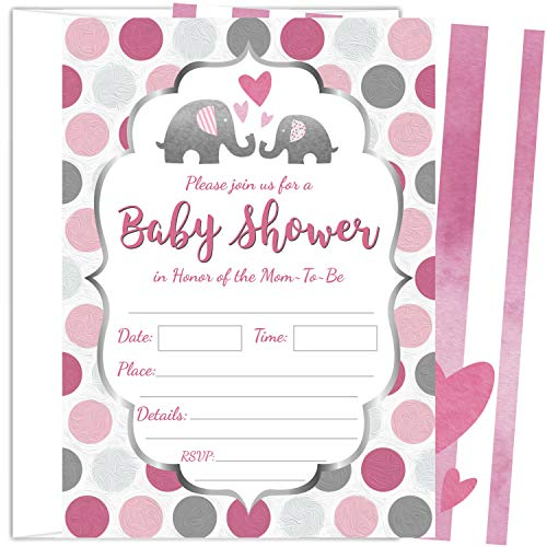 25 Pink Elephant Girl Baby Shower Invitations (5x7 Inch) with -