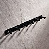 Luxury Solid Brass Single Rack Oil Rubbed Bronze Finish Wall Hanger Clothing Pegs Hooks Wall Peg Rack (Set of 6 Hooks)