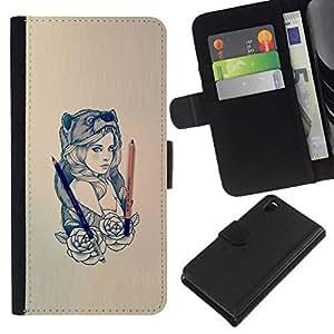 All Phone Most Case / Oferta Especial Cáscara Funda de cuero Monedero Cubierta de proteccion Caso / Wallet Case for Sony Xperia Z3 D6603 // Beautiful Bear Woman