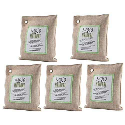 Moso Natural 5 Pack 200 gm Air Purifying Bag Deodorizer. Odor Eliminator for Cars, Closets, Bathrooms and Pet Areas. Absorbs and Eliminates Odors. Natural Color