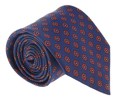 Ermenegildo Zegna Blue-Orange Floral Medallion Tie for mens