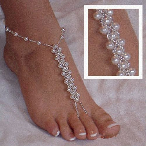 2pcs Fashion Imitation Pearl Diamond Knitted Barefoot Sandals Adorn Extensible Wedding Foot Ring Anklet Chain