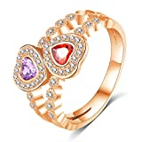 Epinki Wedding Ring for Women Cubic Zirconia Double Love Crystal Rose Gold Size 8 Women Accessories