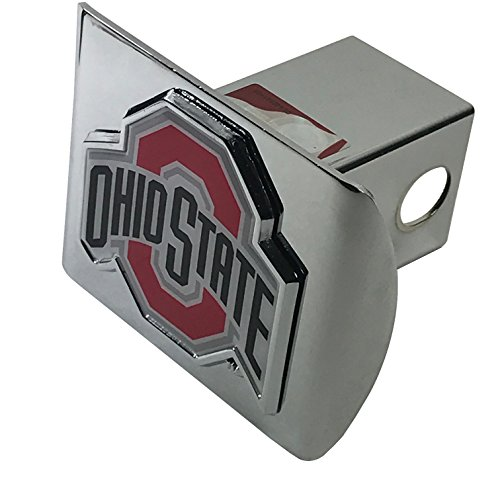 THE Ohio State University METAL emblem with colors on chrome METAL Hitch Cover