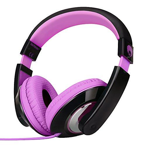 RockPapa On Ear Stereo Headphones Earphones for Adults Kids Childs Teens, Adjustable, Heavy Deep Bass for iPhone iPod iPad MacBook Surface MP3 DVD Smartphones Laptop (Black/Purple)