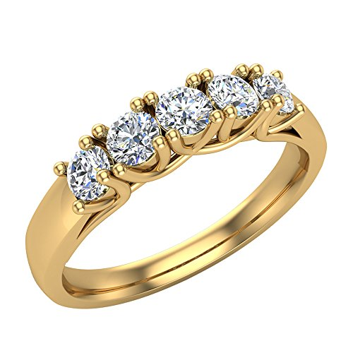- Wedding band Five Stone Diamond Ring Round Brilliant Cut w/Trellis Setting 0.50 carat total weight 14K Yellow Gold (Ring Size 5.5)