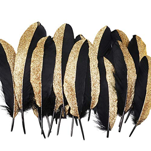 BABEYOND 42 Pcs Gold Dipped Feather Goose Feather Natural Craft DIY Decoration Feather for Party Decoration Wedding Dress Up Room Decoration (Black & Gold)