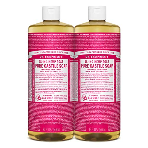 Dr. Bronner's - Pure-Castile Liquid Soap (Rose, 32 ounce, 2-Pack) - Made with Organic Oils, 18-in-1 Uses: Face, Body, Hair, Laundry, Pets and Dishes, Concentrated, Vegan, Non-GMO (Tiny Bubbles Laundry Detergent)