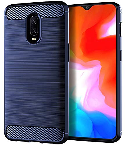 Oneplus 6t Case, Asmart Shock Absorption Case Oneplus 6t Slim Carbon Fiber Cover Flexible TPU Protective Phone Case for Oneplus 6t T-Mobile (Blue) (Case Mobile Oneplus)