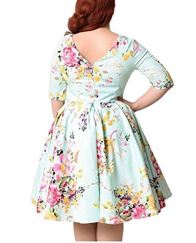 Damen Jahr 50er Rockabilly Elegant Kleid Swing Kleider Retro 004 Vintage B qXwxABTCd