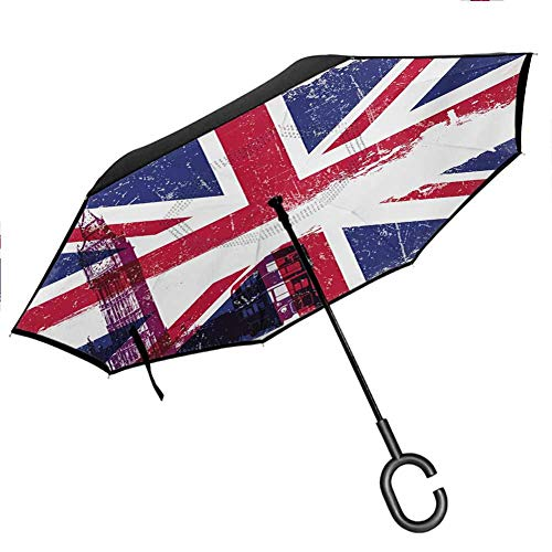 Union Jack Reverse Umbrella Grungy Aged UK Flag Big Ben Double Decker Country Culture Historical Landmark for Car/Rain/Sun for UV Protection & Rain, Multicolor 42.5