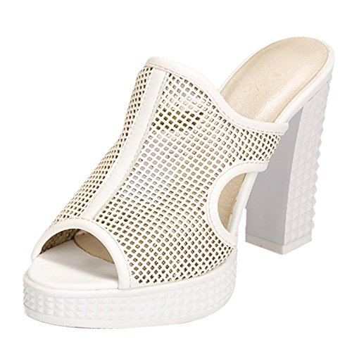 Toe Creux White Enfiler TAOFFEN Chunky Sandales Femmes Peep à Chaussures qgt41t