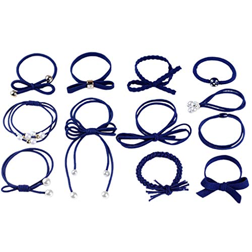 Dress Ancient Tie - Howley Fashion Lady Star Head Rope Simple Tie Hair Band Hair Rope Hair Ring Ancient Style Headdress 12 Sets (Navy)