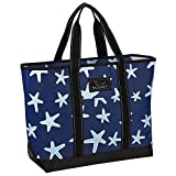 SCOUT Beach Bum Large Tote Bag, For the Beach or Pool, Slim Profile, Folds Flat, Sand and Water Resistant, Zips Closed, Fish Upon a Star