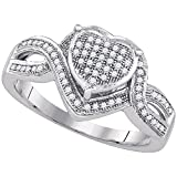 10k White Gold Diamond Heart Ring Infinity Band Promise Of Love Cocktail Style Pave Fancy 1/4 ctw Size 7