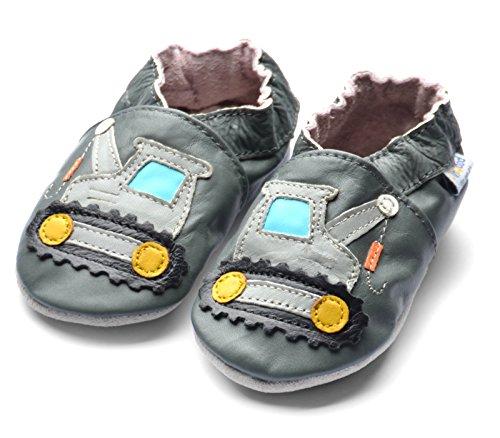 Jinwood designed by amsomo - verschiedene Modelle - Hausschuhe - ECHT LEDER - Lederpuschen - Krabbelschuhe - Mädchen - Jungen - soft sole / mini shoes div. Groeßen 17/19 - 35/36 crane grey soft sole