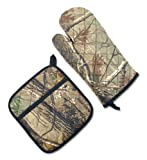 DII 100% Cotton, Machine Washable, Everyday Kitchen Basic Printed Oven Mitt and Potholder Gift Set, Real Tree Camo