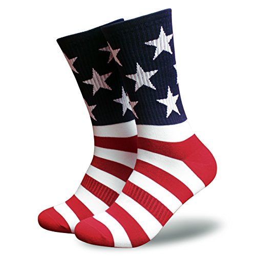 American Flag Socks for Men or Women, Patriotic USA Freedom High Socks, Premium (USA, Mens) -