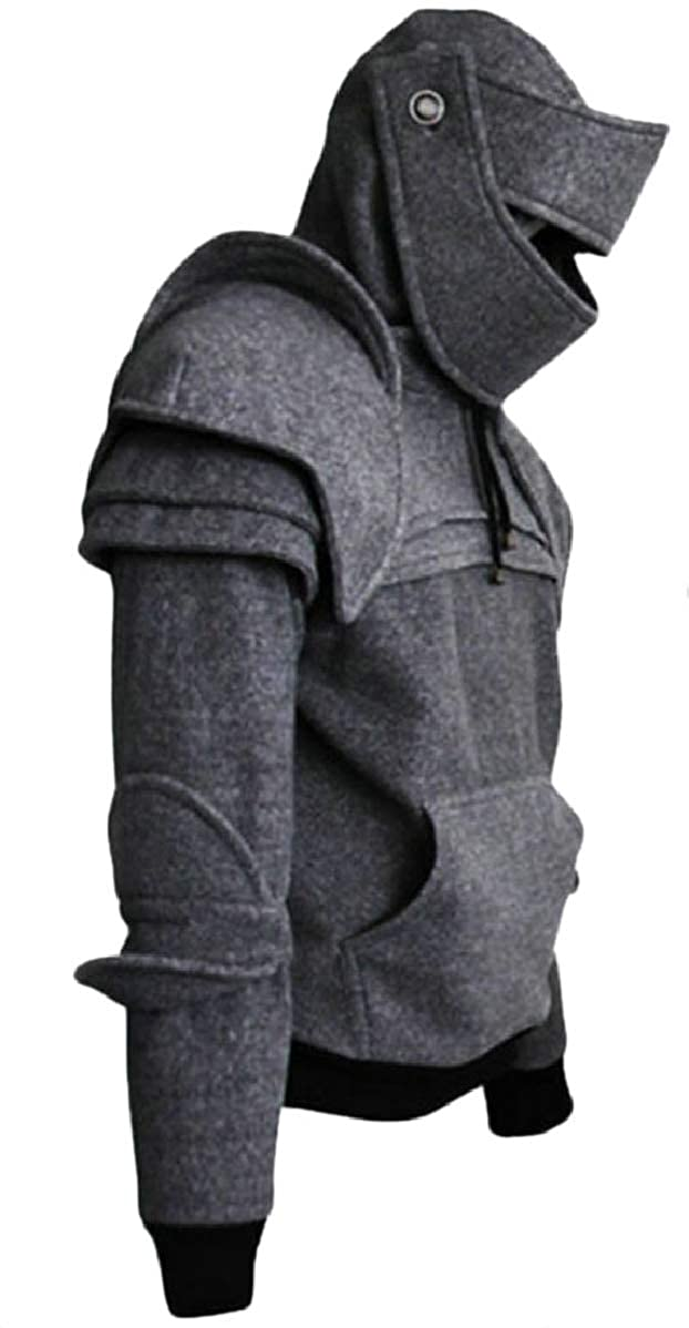 YIhujiuben Mens Hooded Retro Mask Long Sleeve Knight Pullover Sweatshirts