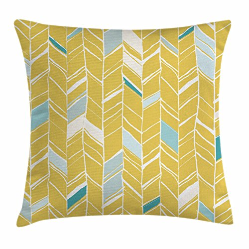 Hand Drawn Doodle (Yellow Chevron Throw Pillow Cushion Cover by Ambesonne, Herringbone Pattern Zig Zag Lines in Hand Drawn Doodle Art Style, Decorative Square Accent Pillow Case, 16 X 16 Inches, Pale Blue Mustard)