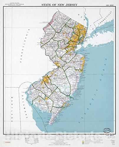 - Historic 1975 Map | State of New Jersey 44in x 55in