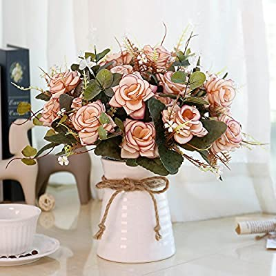 Yiliyajia Fake Flowers In Vase Silk Rose Artificial Flower Arrangements Fake Faux Flowers Bouquets With Ceramics Vase Table Centerpieces For Dinning Room Table Kitchen Decoration Pink Amazon Sg Home