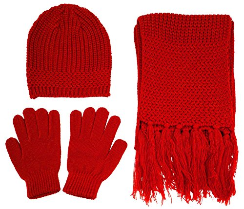 Unisex 3 Pieces Knitted Winter Set - Red Beanie, Gloves and Scarf Set