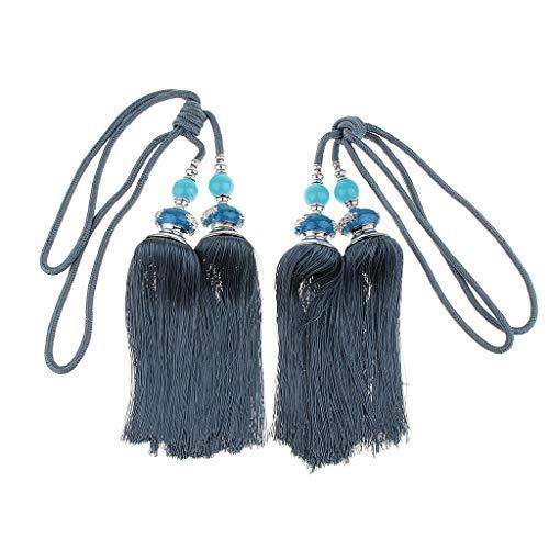 2 Pcs Curtain Tieback Tassels Fringe with Hanging Ball Curtain Drapery Decor | Color - Deep Blue