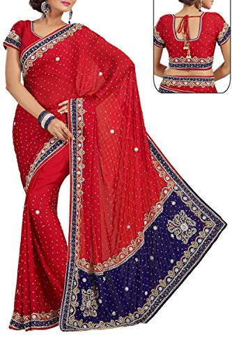 Red Exclusive Saree Ethnic Indian Chiffon Designer Wear E07HqI