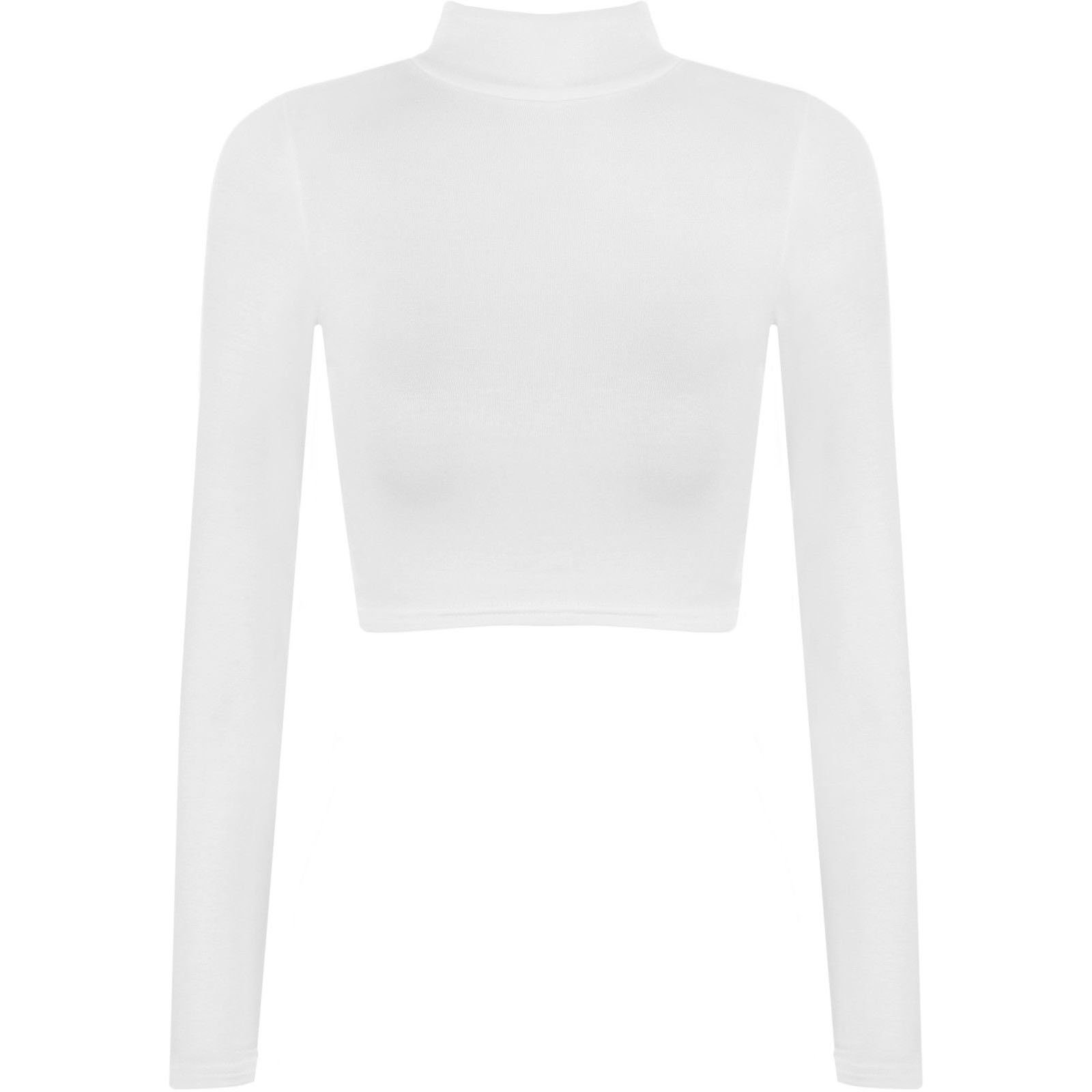 Womens Turtle Neck Crop Long Sleeve Plain Top---Thin Fabric WHITE-S/M
