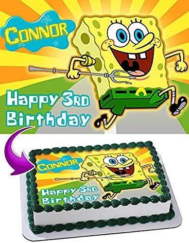 Surprising Amazon Com Spongebob Squarepants Edible Cake Topper Personalized Birthday Cards Printable Inklcafe Filternl