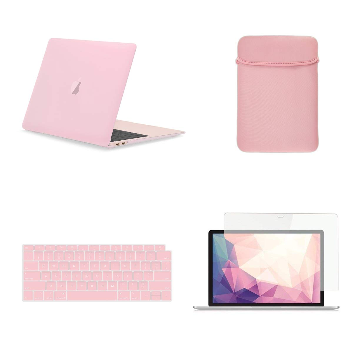 TOP CASE 4 in 1 Bundle - Rubberized Hard Case, Keyboard Cover, Sleeve, Screen Protector Compatible with 2018 Release MacBook Air 13 Inch with Retina Display fits Touch ID Model: A1932 - Rose Quartz