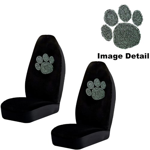 Animal Paw Cute Gem Crystal Studded Rhinestone Bling Car Truck SUV Front Universal-Fit Bucket Seat Covers - PAIR