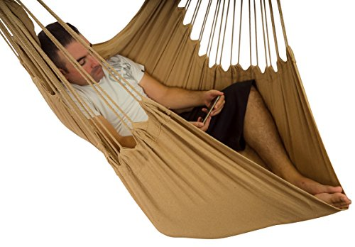 Hammock Sky XXL Hammock Chair Swing for Patio, Porch, Bedroom, Backyard, Indoor or Outdoor - Includes Hanging Hardware and Drink Holder (Iced Coffee)