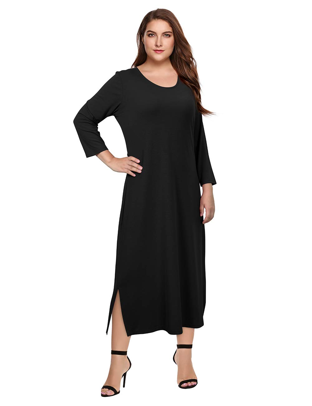 AMZ PLUS Women's Pluz Size 3/4 Sleeves Fitted Casual Maxi Dresses with self-tie to Back Black 3XL
