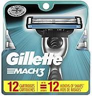 Gillette Mach3 Men's Razor Blade Refill Cartridges, 12 C