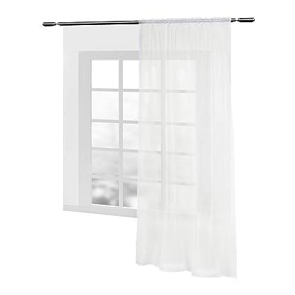 WOLTU VH5515cm, Gardinen Vorhang transparent mit Kräuselband Stores Voile  für Schiene Fensterschal Wohnzimmer Schlafzimmer Landhaus 140x225 cm Creme  ...