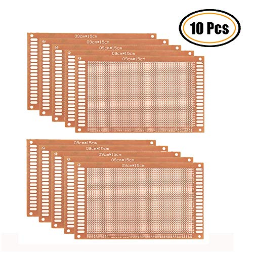 Oak-Pine 10Pcs Printed Universal Breadboard - Composite PCB Boards Single Sided Printed Circuit Board for Prototyping, Electronic Creating Projects, Prototype Kit for DIY (15x9cm / 5.9''x - Breadboard Oak