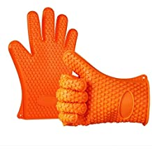 BBQ Oven Gloves | Silicone Cooking Gloves | Best Versatile Heat Resistant Grill Gloves | Baking Gloves | Insulated Silicone Oven Mitts For Grilling | Waterproof | Grill & Kitchen Accessories (1 Pair)