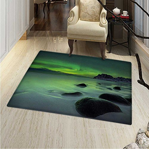 - Northern Lights Dining Room Home Bedroom Carpet Floor Mat Magic Nature Panorama Coastline Oval Energy Sky Mist Picture Non Slip rug 55