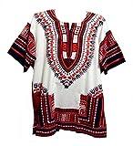Vipada's Dashiki Shirt African Top Men's Dashiki White and Reddish L