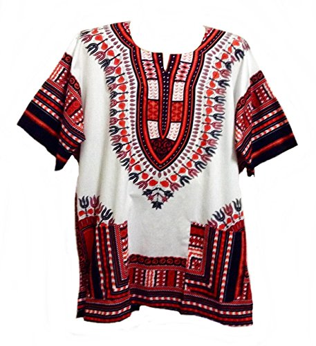 Handmade Embroidered Cotton Top (Vipada Handmade Vipada's Dashiki Shirt African Top Men's Dashiki White and Reddish M)
