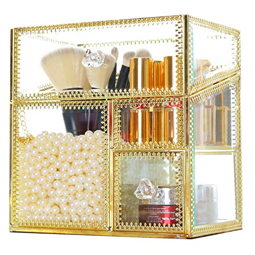 Antique Handmade Makeup Organizer Vintage Mirror Glass Brush Holder Cosmetic Storage Makeup Vanity Dresser Decoration Jewelry Box Make up Brushes 3Compartments with Free White Pearl and Lid