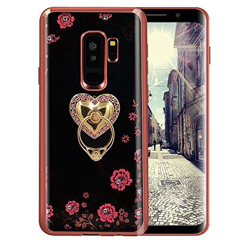 Price comparison product image Galaxy Note 9 Floral Crystal TPU Case-Lozeguyc Soft Slim Bling Plating Rubber Cover for Samsung Galaxy Note 9 with Rhinestone Diamond and Detachable 360 Ring Stand-Rose Gold and Pink