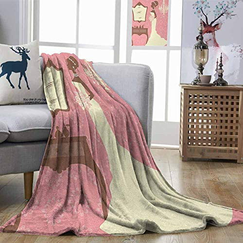 Zmstroy Living Room/Bedroom Warm Blanket Bridal Shower Wedding Dress with Flowers and Vanity Swirl Backdrop Celebration Coral Brown and White Print Summer Quilt Comforter W60 xL80