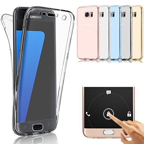 Samsung Galaxy S7 Edge Case, AMASELL Full Coverage 360 Degree Front and Back Protective Case Shockproof TPU Gel Transparent Clear Cover for Samsung Galaxy S7 Edge (Transparent Black)