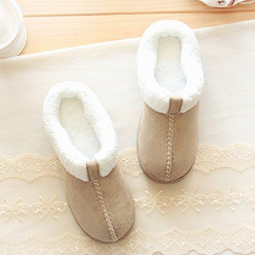 Halluci Shoes Foam House Suede Women's Slippers Memory Khaki Cozy rPCwHqcr